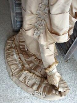 Stunning Antique Silk Victorian Gown French Woman's Dress Edwardian Ball Gown