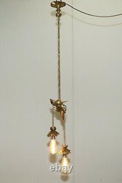 Stunning Circa 1920's French Gilt Bronze Cherub Angel Ceiling Light Chandelier