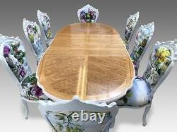 Stunning Designer Art Deco style Oak & Burr Ash dining table French Polished