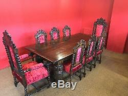 Stunning English Oak Refectory dining table pro French Polished