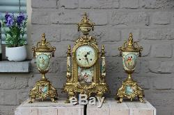 Stunning French Porcelain Clock set urns vases victorian romantic theme