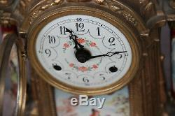 Stunning French Porcelain victorian scene Clock set candelabras vases FHS