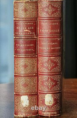 Stunning Large Antique French Leather Spine Victorian Art Fashion Books