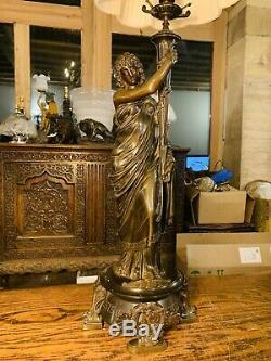 Stunning Solid Bronze 19thC Ancient Greek Style Table Lamp, Classical French