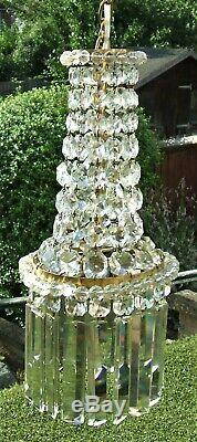 Stunning Victorian French Brass, Lead Crystal And Beads Chandelier