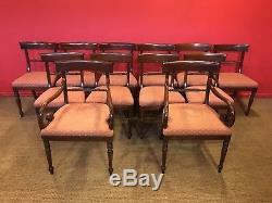 Stunning set 12 William IV style Mahogany Dining Chairs, Pro French polished