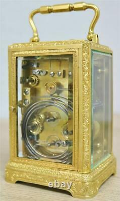 Sublime Antique Dent London Finely Engraved Ormolu 8 Day Repeater Carriage Clock