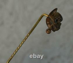 Superb Victorian Hard Carved Wood French Bulldog Head Stick Tie Pin t0652