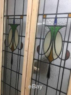 VICTORIAN STAINED GLASS DOORS ANTIQUE PERIOD RECLAIMED OLD FRENCH LEAD 1890s