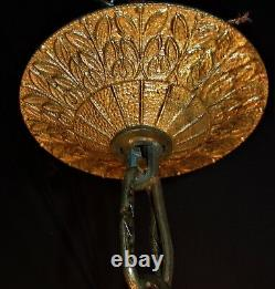 VTG FRENCH /SPAIN CAST BRASS CRYSTALS 12 BULBS CHANDELIER CEILING FIXTURE 1950's