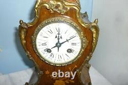 Very Pretty Victorian Marquetry Mantle Clock Mint Condition Full Working Order
