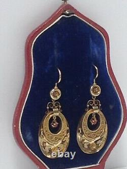 Victorian 14k Yg Earrings. Etruscan Wire. French Wires. Antique Original