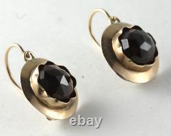 Victorian Bohemian Rose Cut Garnet 14k Yellow Gold French Wire Back Earrings