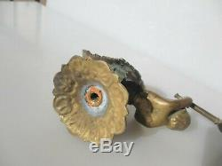 Victorian Brass Gas Wall Lights Lamps French Cherub Antique Old Rococo Pair