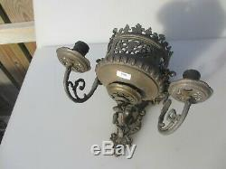Victorian Brass Wall Sconces Candle Holders Old Antique French Lion Rococo Pair