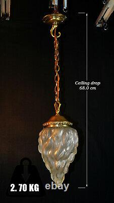 Victorian C1850s heavy brass pendant light early French Vienne torch flame shade