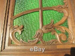Victorian Carved Wooden Panels Plaques Antique French Old Wood Doors Green Glass