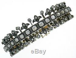 Victorian Diamond Silver Rose Gold Bangle BRACELET French Antique 1900s Rare