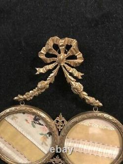 Victorian Era Antique French Gilt Bronze Dual Hanging Frame-323e