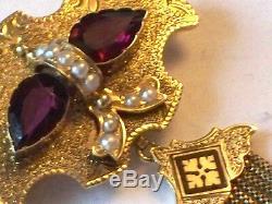 Victorian French 15ct Gold Enamel Pearl Garnet Tassel Brooch In Antique Box