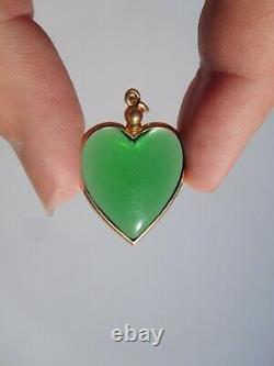 Victorian French 19th Century 18K Gold Green Heart Shaped Crystal Pendant Locket