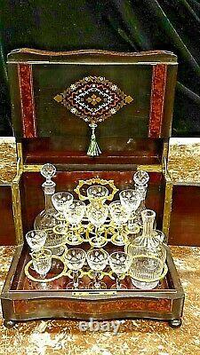 Victorian French Antique Napoleon III Tantalus liquor Cabinet Inlay Caddy
