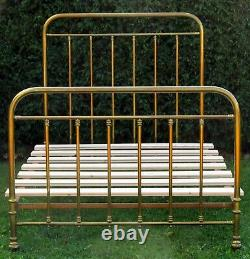 Victorian French Brass Small Double (4 feet wide) Bed with Base