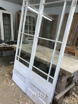 Victorian French Doors Antique Period Old Reclaimed Wood Pine Elegant Rare Pair
