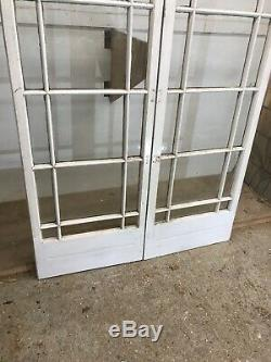 Victorian French Doors Old Antique Period Reclaimed Pine Wooden Clear Glass