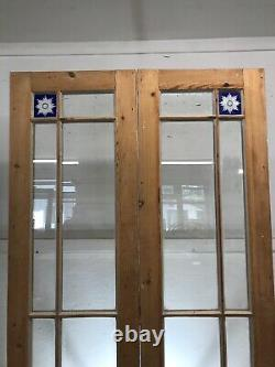 Victorian French Doors Old Antique Period Reclaimed Pine Wooden Cut Glass Set