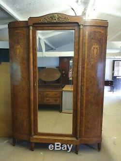 Victorian French Empire Revival Burr Walnut Wardrobe/Armoire V&RF011