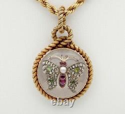 Victorian French Rock Crystal Diamond Pearl Rare Locket Chain