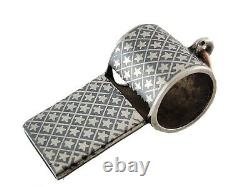 Victorian French Sterling Silver & Niello Enamel Whistle Pendant with star pattern