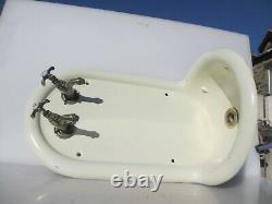 Victorian Iron Wall Sink Basin Unit Brass Taps French Salvage Antique Vintage