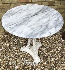 Victorian Marble Top Cast Iron Table