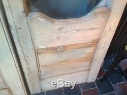 Victorian Pine Stripped Pair Of Double French Doors Glazed. W 122cm. H 2m. D 4.5cm