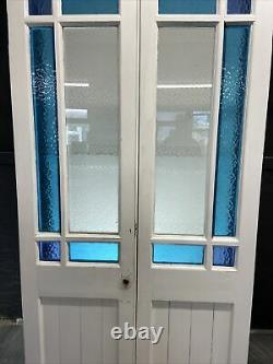 Victorian Stained Etched Glass Doors Antique Period Reclaimed Old French Wooden