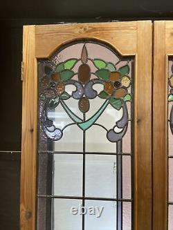 Victorian Stained Glass Doors Antique Period Reclaimed Old French Arts & Crafts