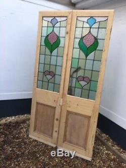 Victorian Stained Glass Doors Double Set Antique Period Reclaimed Old French Two