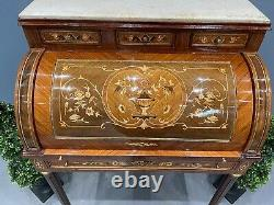 Victorian Style Marquetry Inlaid Desk Roll Top Desk French Desk Marble Top