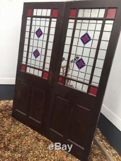 Victorian Style Stained Glass Doors French Reclaimed Antique Period Old Double