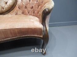 Victorian Walnut Chaise Lounge Love Sofa Companion Sofa Rare Shape