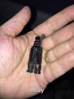 Victorian Whitby Jet Charm Carved Book & Bog Oak Man & Book & French Jet Charm