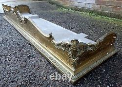 Victorian antique French Rococo style heavy cast brass fire curb fender guard