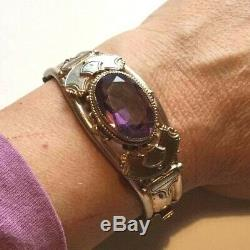 Victorian gold wide bangle bracelet. Amethyst French glass paste stone. Antique