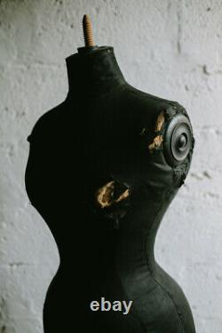 Vintage Antique French 19th Century Wasp Mannequin Black Tailors Dummy