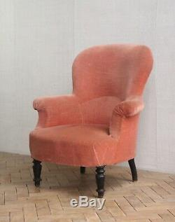Vintage Antique Napoleon III French Balloon Back Tub Arm Chair Victorian
