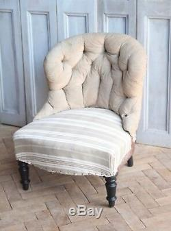 Vintage Antique Napoleon III French Button Back Nursing Chair Victorian