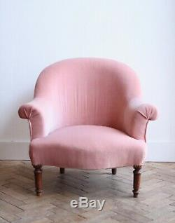 Vintage Antique Napoleon III French Pink Tub Arm Chair Victorian
