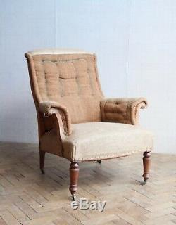 Vintage Antique Napoleon III French Square Back Arm Chair Victorian